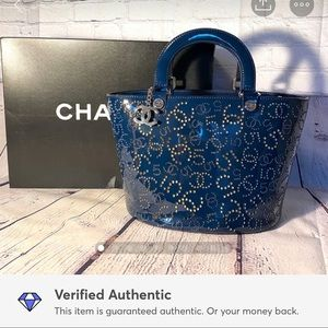 Chanel navy patent leather laser cut tote